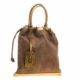 Etro Gold Paisley Printed Fabric and Leather Drawstring Shopper Tote 135681