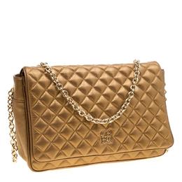 Carolina Herrera Gold Quilted Leather Flap Chain Shoulder Bag 205929