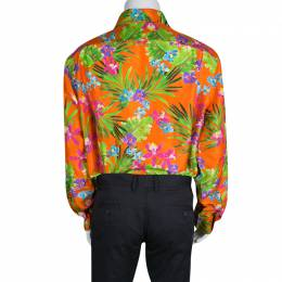 Ralph Lauren Orange Tropical Floral Print Button Front Silk Shirt XXL 134618