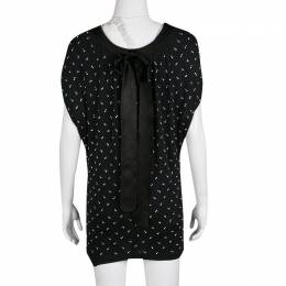 Marc Jacobs Navy Blue Embellished Knit Tie Detail Tunic XS 135782