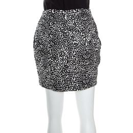 Diane Von Furstenberg Monochrome Printed Cotton Clyde Mini Skirt S 161215