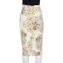 Versace Collection Cream Printed Pencil Midi Skirt M 165929