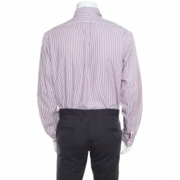 Ralph Lauren Burgundy Striped Crest Embroidered Detail Custom Fit Oxford Shirt XL 168915