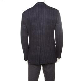 Salvatore Ferragamo Black Cotton Wool Checked Tailored Blazer L 176932