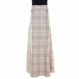 Burberry London Beige Checked Linen Belted Maxi Skirt L 181800