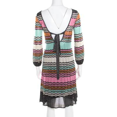M Missoni Multicolor Lurex Chevron Patterned Knit Neck Tie Detail Dress M 186358 - 2