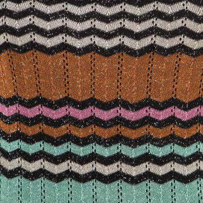 M Missoni Multicolor Lurex Chevron Patterned Knit Neck Tie Detail Dress M 186358 - 3