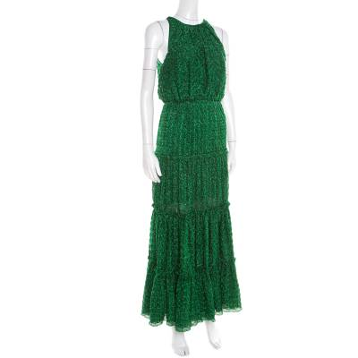 Missoni Metallic Green Knit Neck Tie Detail Tiered Maxi Dress and Fringed Wrap Set M 186723 - 2