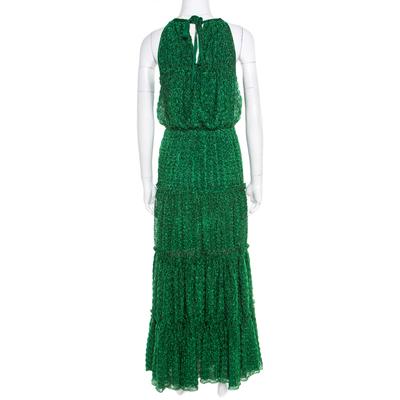 Missoni Metallic Green Knit Neck Tie Detail Tiered Maxi Dress and Fringed Wrap Set M 186723 - 3