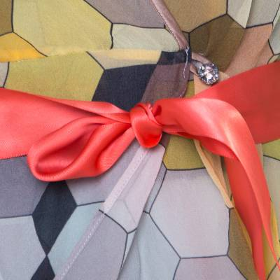Matthew Williamson Multicolor Honeycomb Printed Silk Wrap Kimono Tunic S 186512 - 3