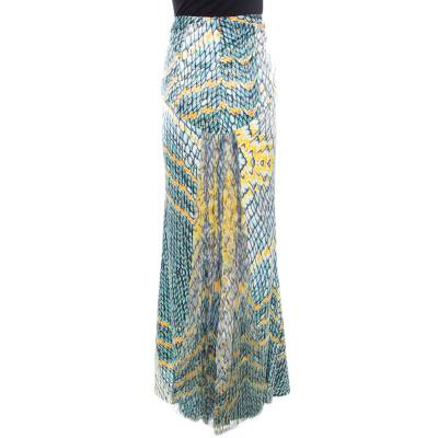 Just Cavalli Multicolor Animal Printed Draped Back Detail Maxi Skirt M 186074 - 2