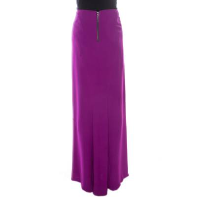 Gianfranco Ferre Purple Crepe Maxi Skirt L 186339 - 2