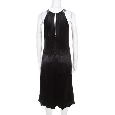 Vera Wang Black Embellished Satin Bod Detail Sleeveless Dress M 186493 - 2