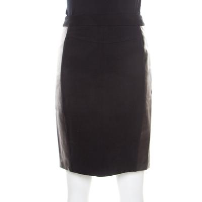 Diane Von Furstenberg Black Contrast Leather Panel Detail Lisa Pencil Skirt S 186963 - 3