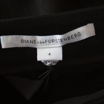 Diane Von Furstenberg Black Contrast Leather Panel Detail Lisa Pencil Skirt S 186963 - 6