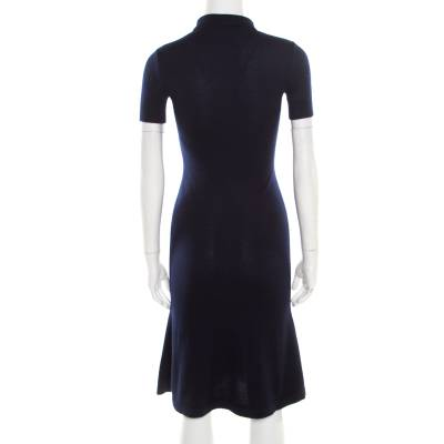 Ralph Lauren Navy Blue Cashmere and Silk Knit Polo Midi Dress XS 186342 - 2