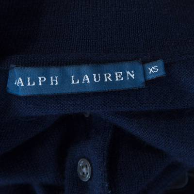 Ralph Lauren Navy Blue Cashmere and Silk Knit Polo Midi Dress XS 186342 - 4
