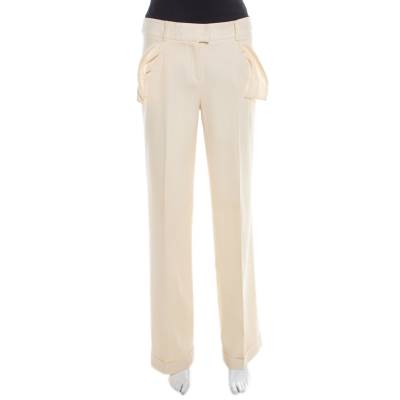 Dior Cream Wool Straight Fit Trousers M 185927 - 2