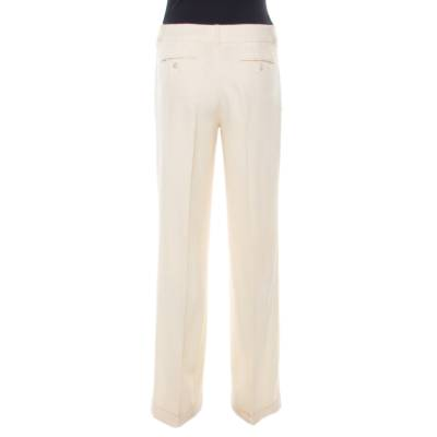 Dior Cream Wool Straight Fit Trousers M 185927 - 3
