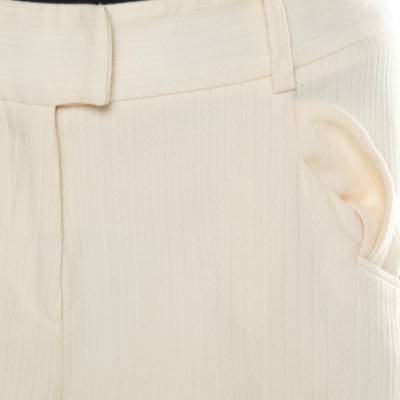 Dior Cream Wool Straight Fit Trousers M 185927 - 4