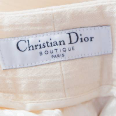 Dior Cream Wool Straight Fit Trousers M 185927 - 5