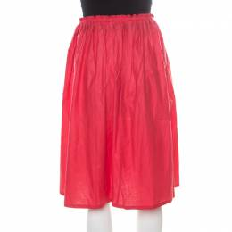 Jil Sander Red Lightweight Cotton Drawstring Waist Gathered Skirt M 185684