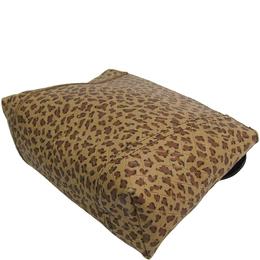 Bottega Veneta Beige Leopard Print Intrecciato Leather Pouch 192707