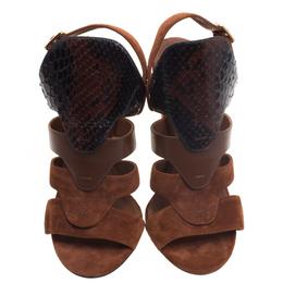 Salvatore Ferragamo Tricolor Suede and Python Laos Strappy Sandals Size 37 95219