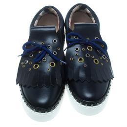 Burberry Navy Blue Leather Kiltie Fringe Slip On Sneakers Size 39.5 155084