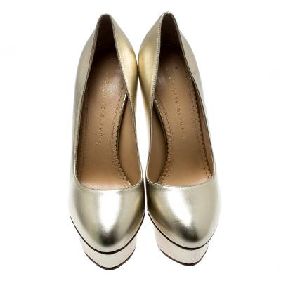 Charlotte Olympia Metallic Gold Leather Dolly Platform Pumps Size 39.5 186935 - 2