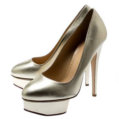 Charlotte Olympia Metallic Gold Leather Dolly Platform Pumps Size 39.5 186935 - 3