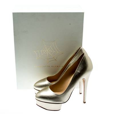 Charlotte Olympia Metallic Gold Leather Dolly Platform Pumps Size 39.5 186935 - 7