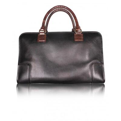Loewe Dark Brown Leather/Lizard Amazona 36 Satchel Bag 109896 - 2