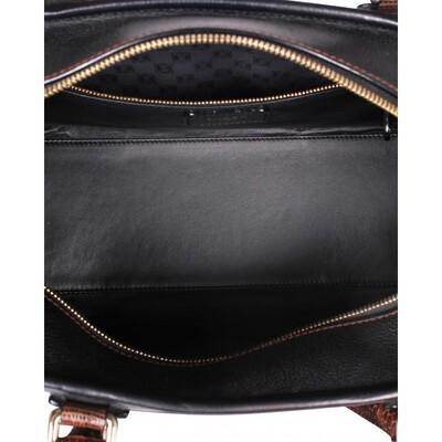 Loewe Dark Brown Leather/Lizard Amazona 36 Satchel Bag 109896 - 4
