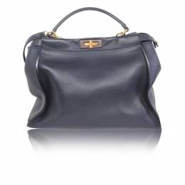 Fendi Navy Blue Calfskin Leather Peekaboo Medium Tote Bag 187524