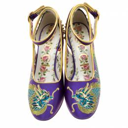Gucci Purple Satin And Black Patent Leather Caspar Dragon Embroidered Spike Detail Pumps Size 37 207656