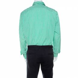 Ralph Lauren Green and White Gingham Checked Cotton Aston Button Front Shirt XXL 210302