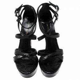 Gianvito Rossi Black Python Leather Strappy Platform Sandals Size 36 211314