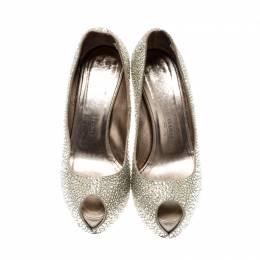 Le Silla Metallic Gold Crystal Embellished Leather Peep Toe Platform Pumps Size 39 211116