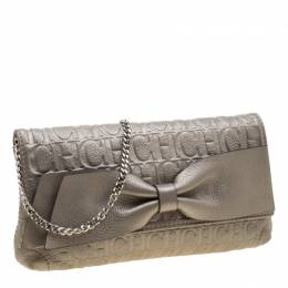 Carolina Herrera Light Grey Leather Bow Shoulder Bag 211029