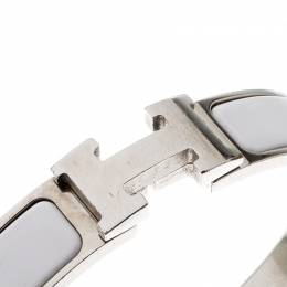 Hermes Clic Clac H White Enamel Palladium Plated Narrow Bracelet PM 212325