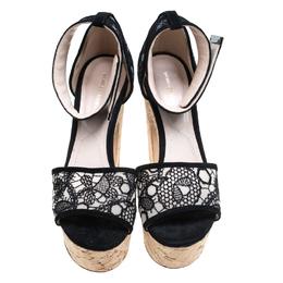 Nicholas Kirkwood Black Lace Maya Pearl Platform Ankle Strap Sandals Size 38.5 165117