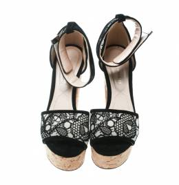 Nicholas Kirkwood Black Lace Maya Pearl Platform Ankle Strap Sandals Size 35.5 171960