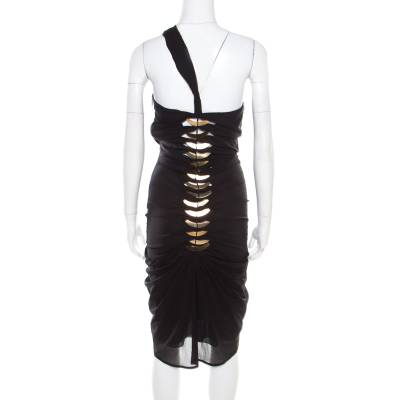 Gucci Black Silk Metal Fish Bone Embellished Ruched Dress M 186152 - 2