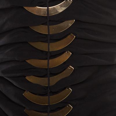 Gucci Black Silk Metal Fish Bone Embellished Ruched Dress M 186152 - 3