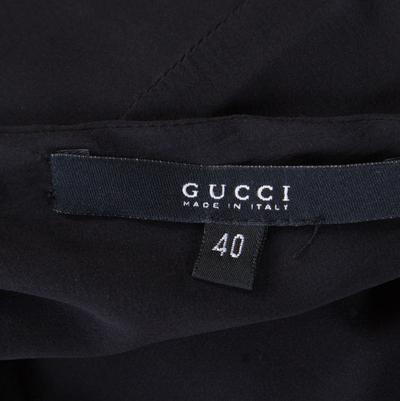 Gucci Black Silk Metal Fish Bone Embellished Ruched Dress M 186152 - 4