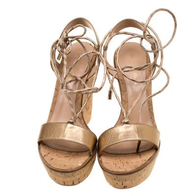Gianvito Rossi Metallic Gold Leather Ankle Wrap Cork Wedge Sandals Size 37 185610 - 3