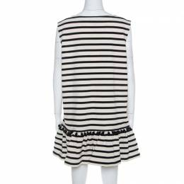 Marc Jacobs Cream and Black Striped Cotton Pompom Detail Dress L 211739