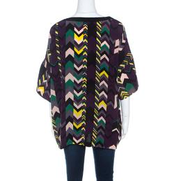 M Missoni Multicolor Chevron Print Silk Tunic Top M 211726
