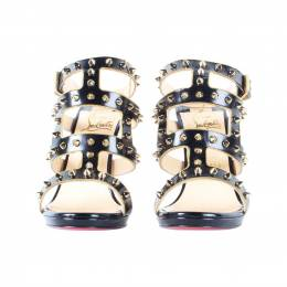 Christian Louboutin Black Leather Sexy Strapi 120 Gold Spike Sandals Size 37.5 187445